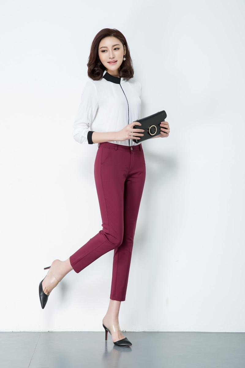 Casual Trousers Women 95% Cotton Elastic Slim Skinny Pants femal Spring Street Wear Pencil Pants Ladys Elegant Office Work Pant 2