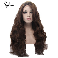 Sylvia 6 Color Body Wave Synthetic Lace Front Wigs Coffee Brown Wavy Glueless Heat Resistant Fiber