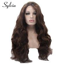 sylvia 6 # έγχρωμο σώμα κύμα συνθετικό δαντέλα μπροστά περούκες καφέ καφέ κυματιστό glueless ανθεκτικό στη θερμότητα μαλλιά ινών για τη γυναίκα