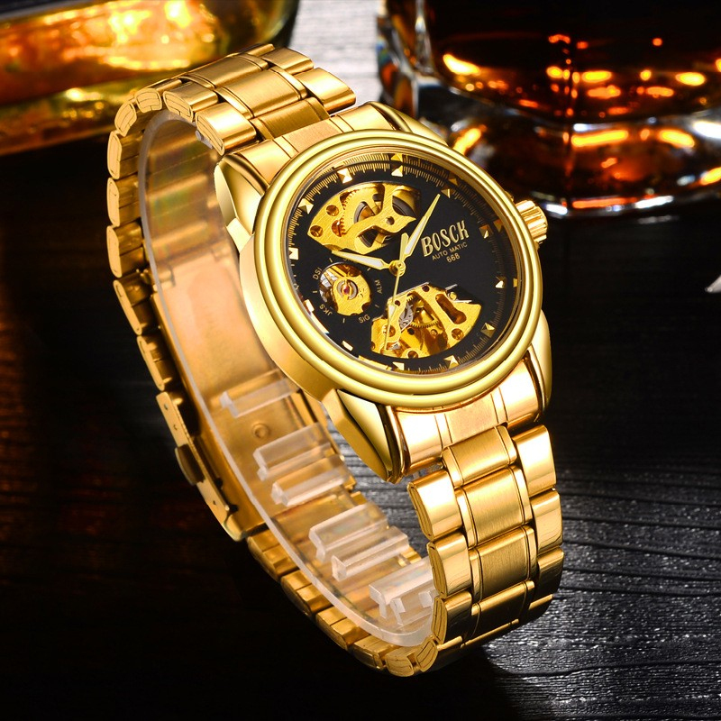 BOSCK Automatic Mechanical Wrist Watch Men Self-winding Skeleton Watches Top Brand Luxury Gold Watch Clock erkek kol saati 2