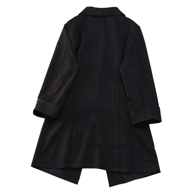 2019 Hot Sale New  Spring  Three Quarter Sleeve Long Striped Single Button Notched Casual Women Blazers L-4xl