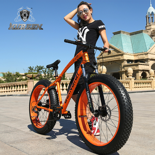 "KUBEEN new arrival 7/21/24/27 speeds Disc brakes Fat bike 26 inch 26x4.0"" Fat Tire Snow Bicycle  Oil spring fork"