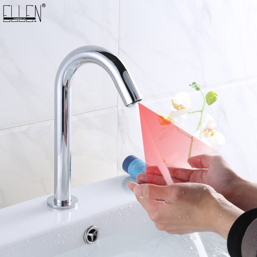 Deck Mounted Bathroom Basin Sink Faucet Cold & Hot Hand Touch Tap Automatic Inflated Sensor Faucet Crane ELS83