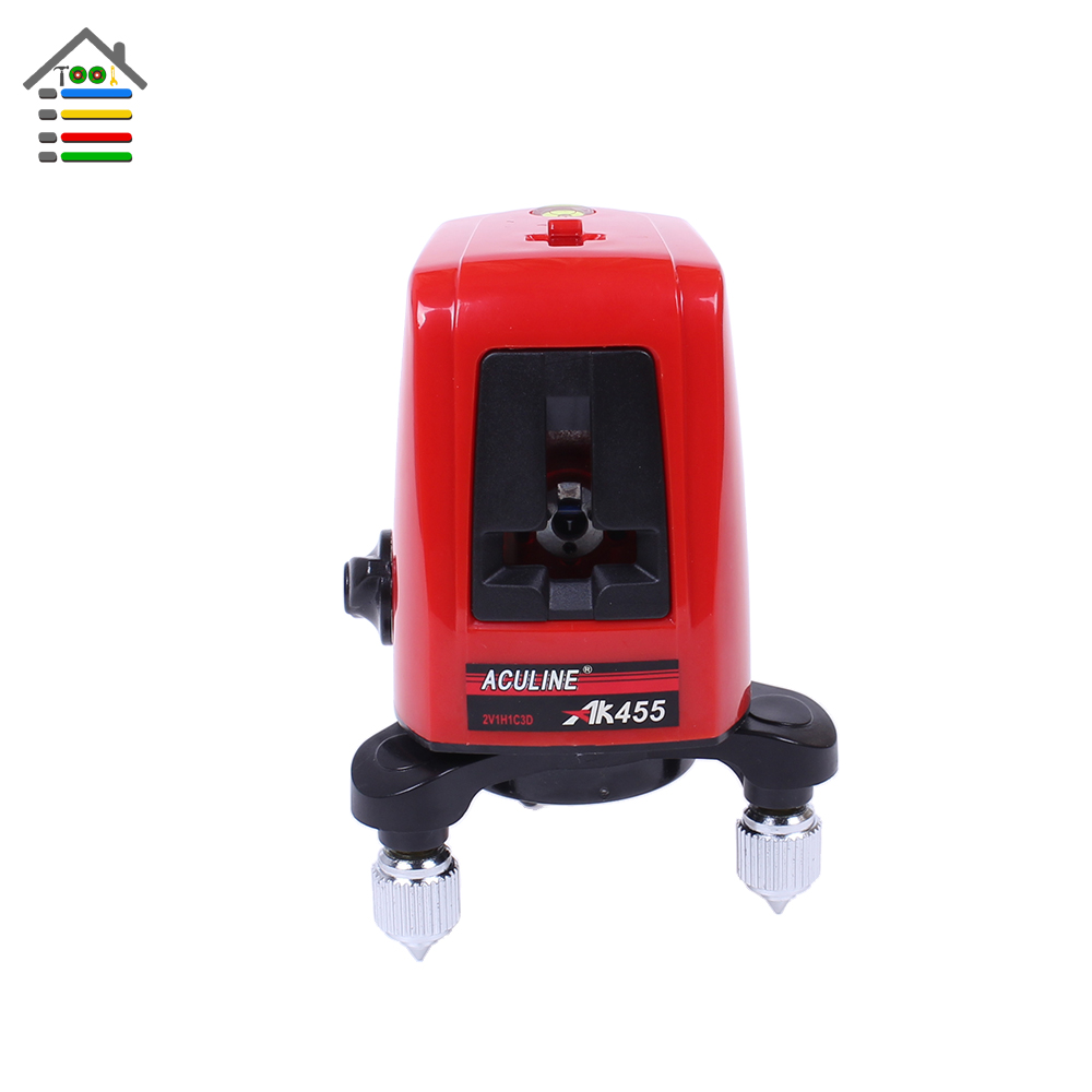 New AK455 360 Degree Self-leveling Double Cross Laser Level Leveler Red 2 Line 1 Point with Cloth Bag infrared laser marking instrument leveling line laser leveling instrument red line 2 standard red