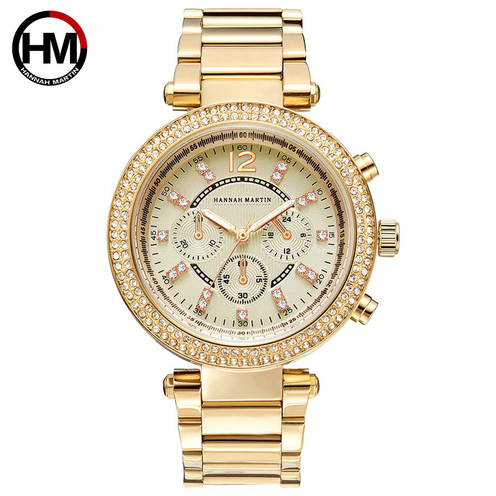 Hannah Martin Luxury Women's Bracelet Watches Gold Rhinestone Stylish Ladies Watches Quartz Wristwatches relogio feminino Clock stylish rhinestone engraving faith heart bracelet for women