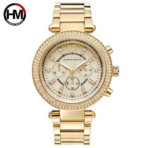 Martin para Mulheres de Luxo Relógios de Ouro Relógios de Quartzo Relógio de Pulso Hannah Pulseira Strass Senhoras Elegantes Relógio Feminino