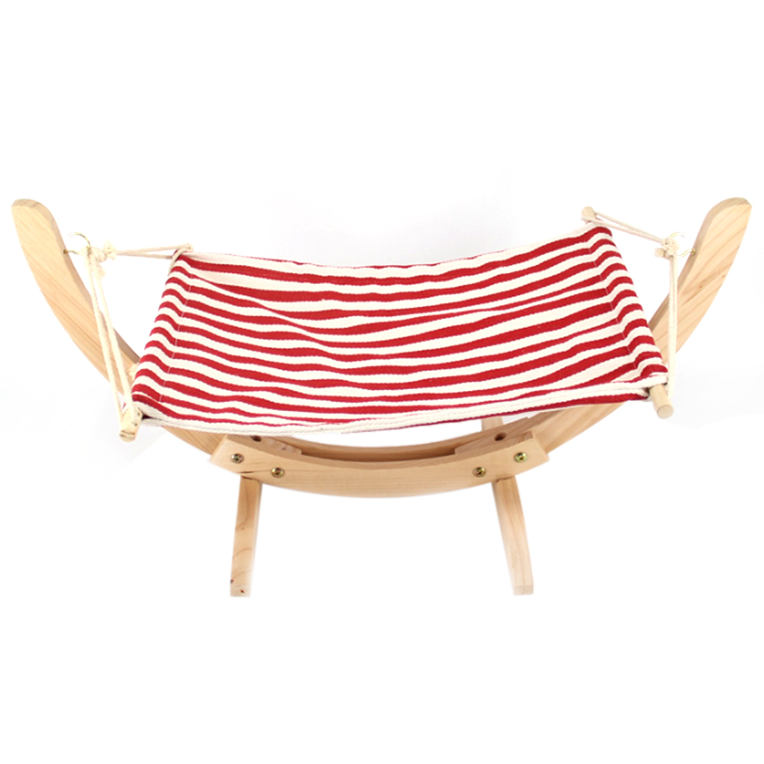 PETFORU Wooden Frame Cat Hammock Hanging Beds for pets - Red and White Stripes