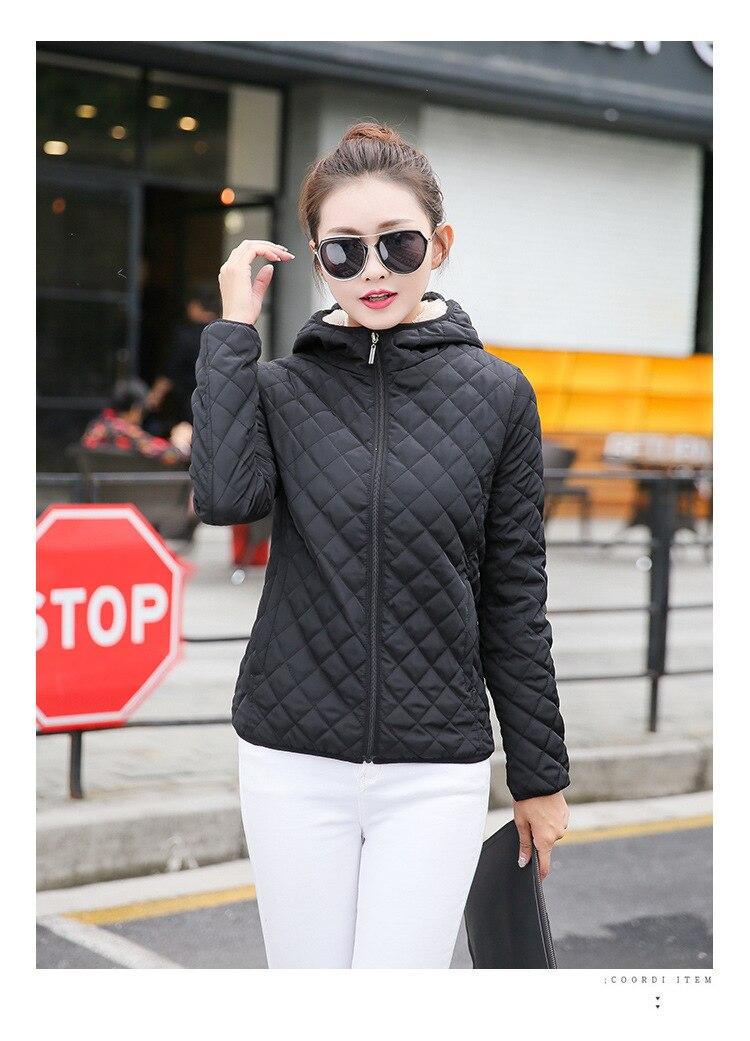 Autumn 2019 New Parkas basic jackets Female Women Winter plus velvet lamb hooded Coats Cotton Winter Jacket Womens Outwear coat 13