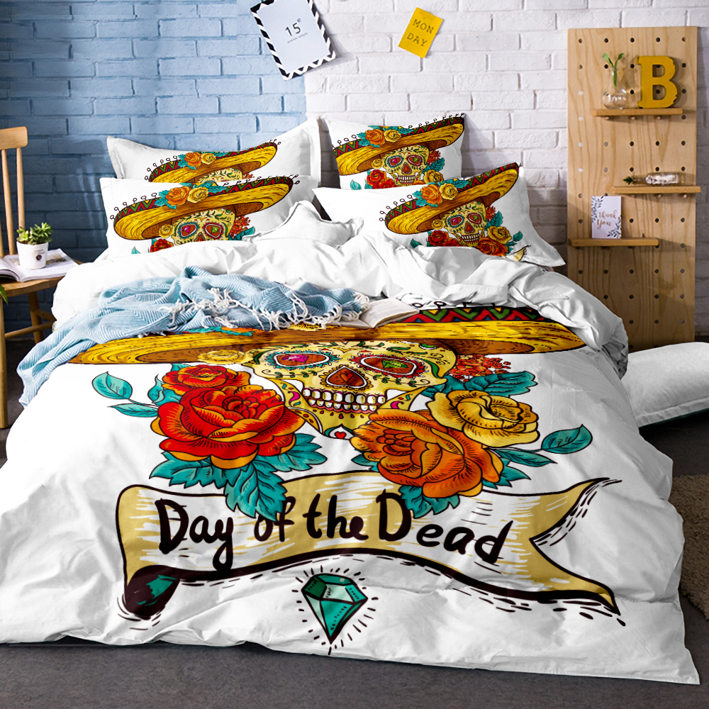 3Pcs Cartoon Skull with straw hat Duvet Cover White Bedding Set Soft Quilt Cover Single Bed Cover Comfortable Queen size SJ133