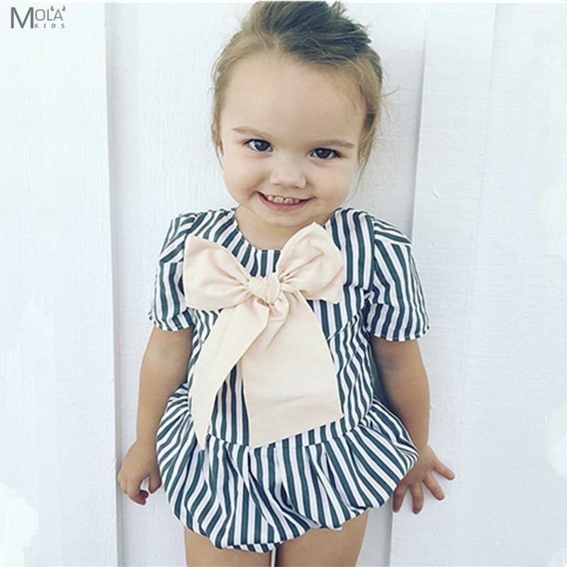 2018 Baby Girls Fashion Romper Big Bow Tie Playsuit Brand Design Kids - Ropa de bebé