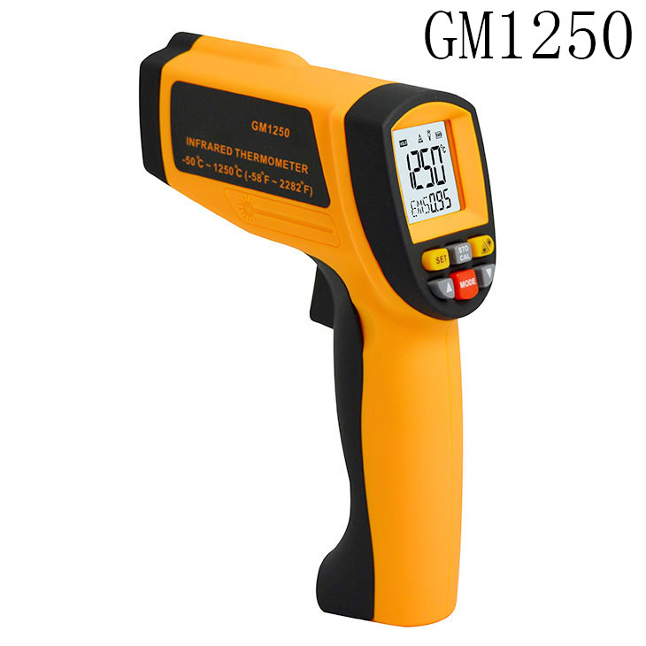 Digital Non contact infrared thermometer GM1250 Temperature Pyrometer IR Laser Point Gun EMS 0.1-1.0 -50~1250C(-58~2282F) 20pcs lot n306ad n308ad to 252