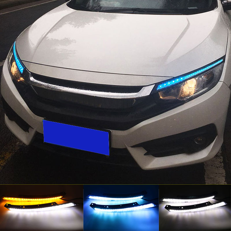 Blink LED Headlight Eyebrow Water Flowing Daytime Running Light DRL With Yellow Turn Signal Light For Honda Civic 2016 2017 car styling led headlight brow eyebrow daytime running light drl with yellow turn signal light for hyundai ix35 2010 2013