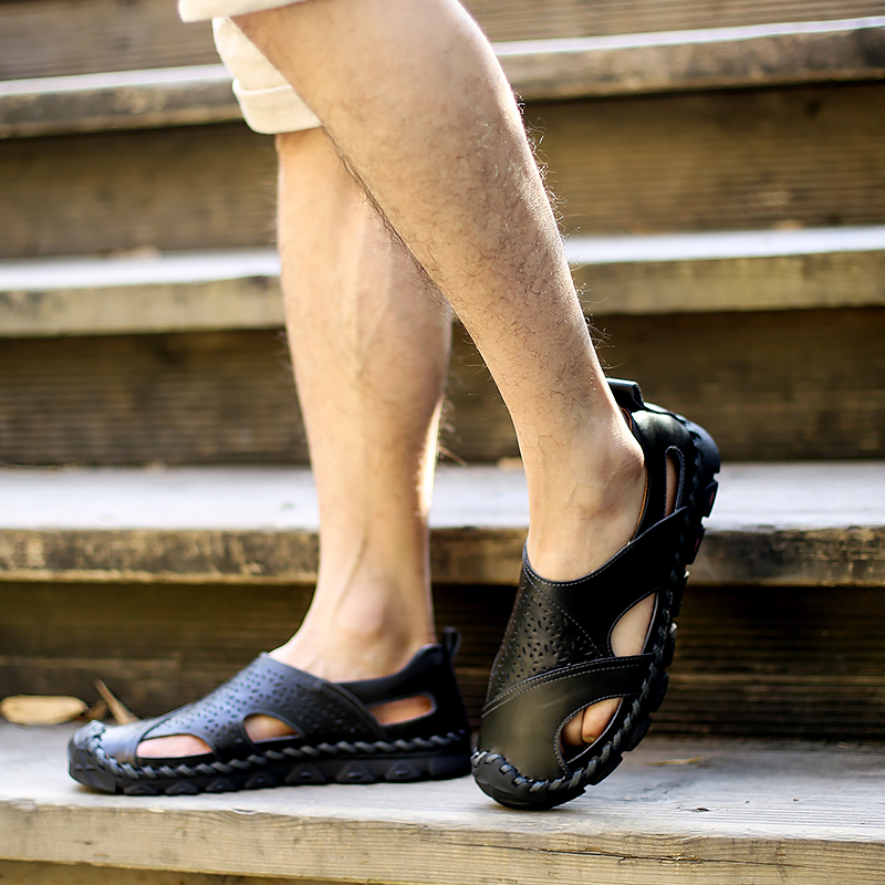 Alta Homens Sandálias De Dos Preto brown 5j717 cáqui Couro Qualidade red Vaca Sapatos Estilo Masculinas Inglaterra 2019 Buraco Genuíno Nova 5XA8nzzf