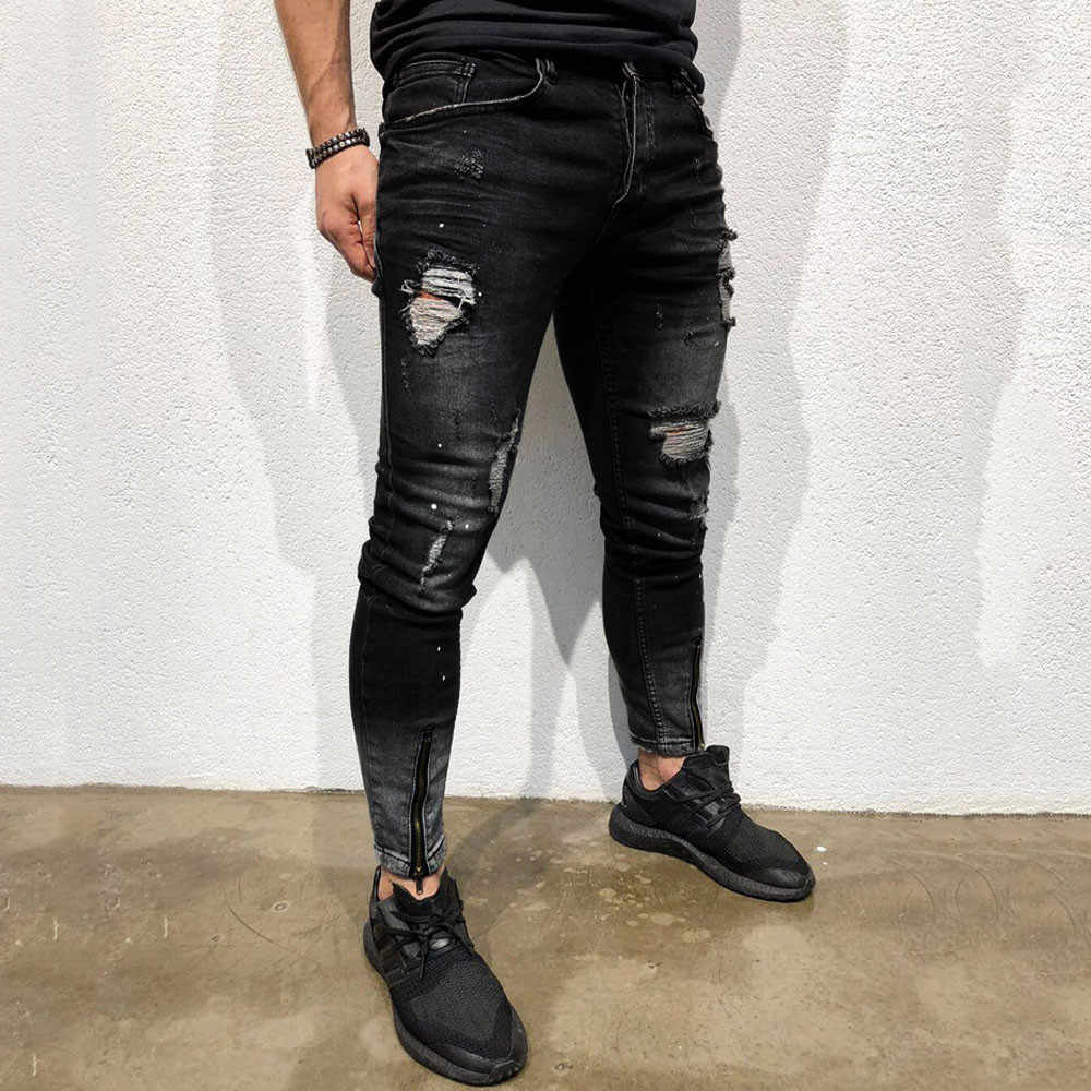 37b2b893be5 ... Skinny Jeans Men Black Jeans Skinny Ripped Destroyed Stretch Slim Fit  Hop Hop Pants With Holes ...