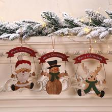 Christmas Letters Ornaments Wooden Doorplate Santa Hangers Pendant Ornaments Doll Home Decor halloween skeleton groom bride welcome house pendant decoration christmas ornaments skulls doorplate