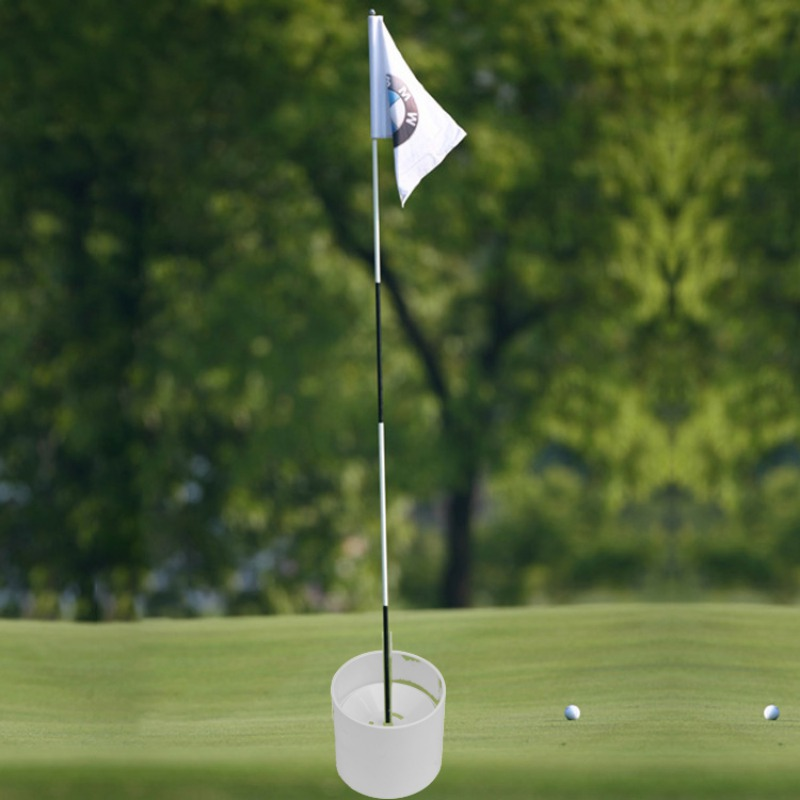 Golf Training Aids  Plastic Golf Hole Cup Putting Putter Golf Flag Stick Yard Garden Training Backyard Practice Putting White