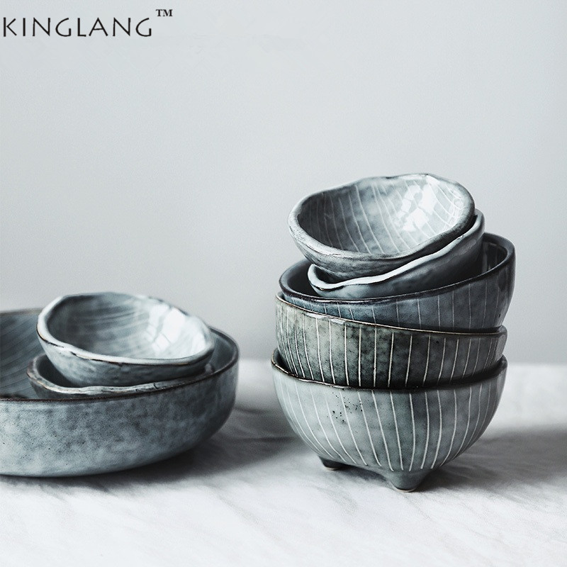 1pc KINGLANG Japanese Style Ceramic Unique Design Small Sauce Dishes Ice-Cream Bowl Rice Bowl Tableware