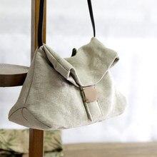 Keten Satchel çanta 2020 rahat kumaş yumuşak omuzdan askili çanta bayan eğlence günlük Slouch çantası tiki tarzı okul kadınlar için Crossbody çanta