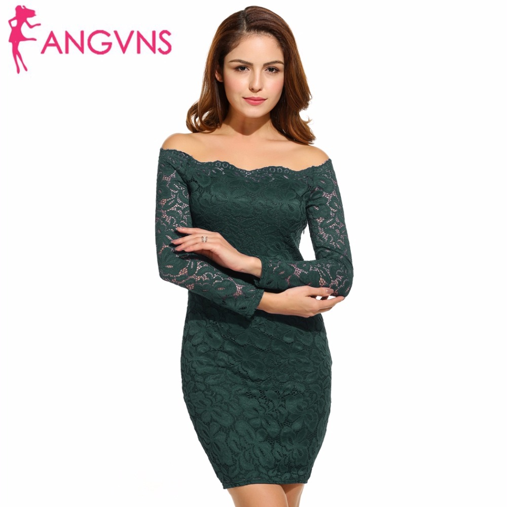 ANGVNS Lace Bodycon Dress Plus Size Women's Off Shoulder Sexy Dress Autumn Cocktail Party Sheath Floral Pencil Mini Dress XXXL