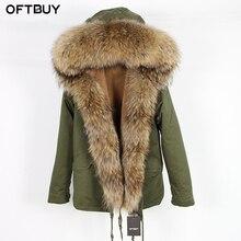 OFTBUY, Повседневная Зеленая зимняя куртка, Женская парка, пальто с натуральным мехом енота, большой воротник, парка с капюшоном, теплая верхняя одежда