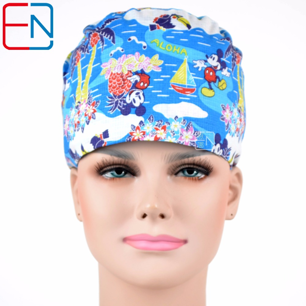 Hennar Women Scrub Caps Unisex Medical Surgical Dentist Hats Mask Scrub Caps High Quality Blue Ladies Plastic Doctor Caps