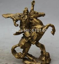 free shipping 6″ Chinese Brass knight Gen Guan Gong Yu Warrior God Ride Horse Sculpture Statue