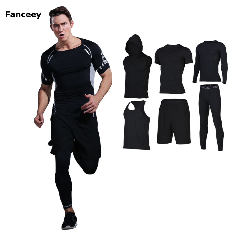 Fitness wear men sportswear quick dry short sleeve summer night morning running tights basketball jerseys training suits 6pcs