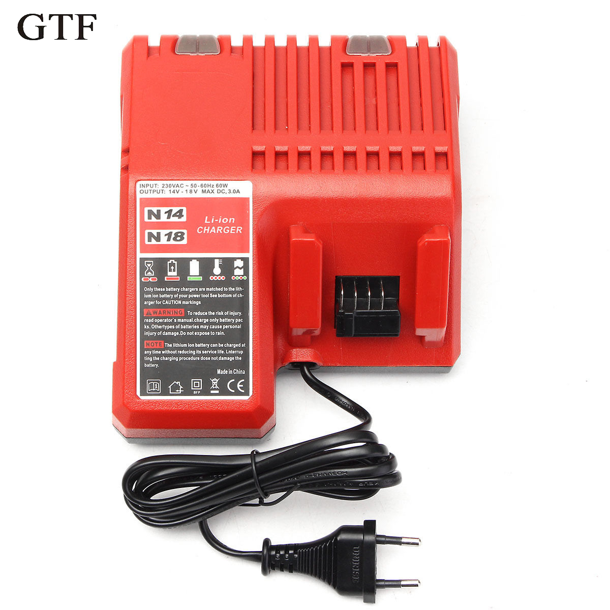 GTF EU Plug 220V Lithium Li-ion Battery Charger Replacement For Milwaukee M18 18V Rechargeable Battery Charger