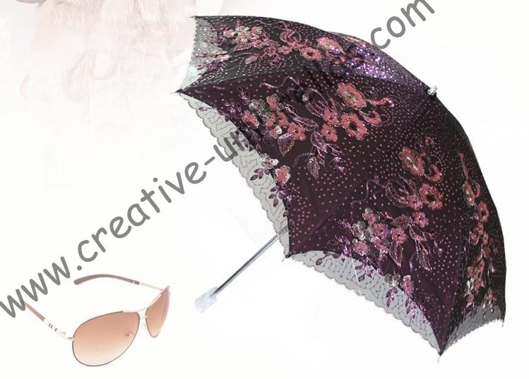 Δωρεάν αποστολή διπλό στρώμα μίνι αντι-UV UV κέντημα κρέμονται ομπρέλα, μαύρη επίστρωση μέσα, διπλό χέρι ανοικτή ακρυλική ομπρέλα