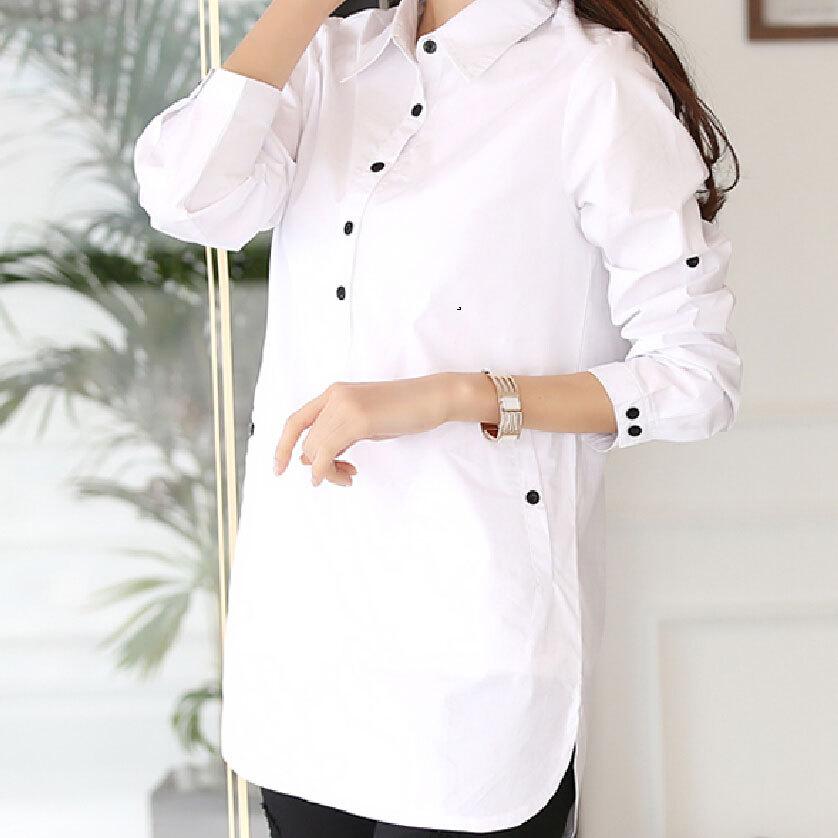 e668688bd27 Aliexpress.com: Comprar S 3XL blusa larga de gran tamaño para mujer nuevo  diseño otoño cuello vuelto algodón Tops botón manga larga camisa blanca de  long ...