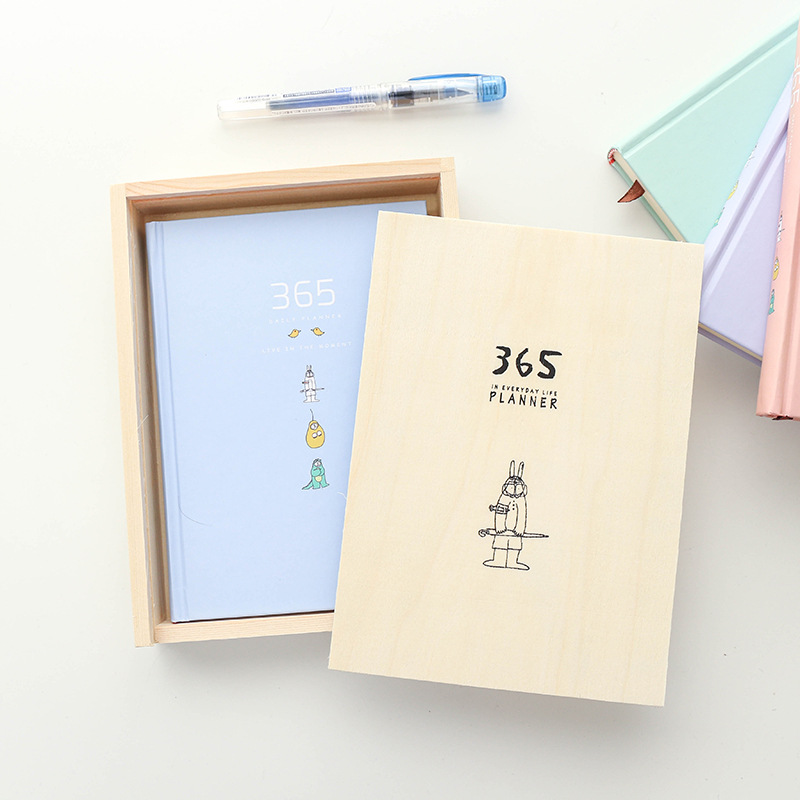 2018 New Cute Adorable Wooden Box Of The 365 Planet Strange Creative Plan Diary Book Daily Planner Organizer Libreta Kawaii kawaii manga adorable
