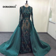 Doragrace Real Photo Gorgeous Long Sleeve Evening Dresses Sequined Prom With Detachable Train
