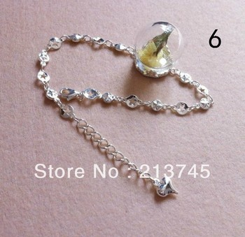 Charm!!! 15mm Round Lace Blank Bracelet & Glass Cover Vial Pendant DIY Set Handcraft Yourself (25mmBall 15mm bottle neck)