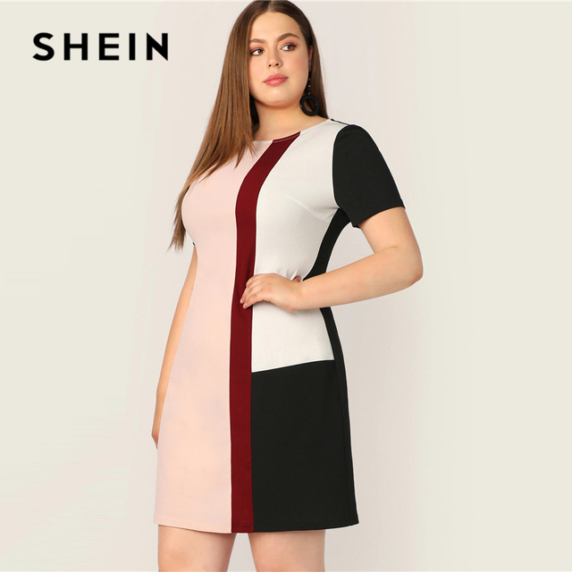 SHEIN Plus Size Multicolor Colorblock Tunic Dress 2019 Women Summer Casual Straight Shift Short Sleeve Big Size  Mini Dresses 1