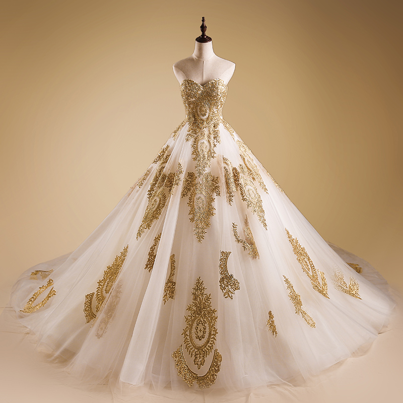 Banvasac Strapless Ball Gown Wedding Dresses Luxury Gold Lace Applique