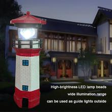 2V LED Solar Lighthouse Rotating White Light Lamp Beacon Tower Guide Decoration Mini Water Lighting Tool