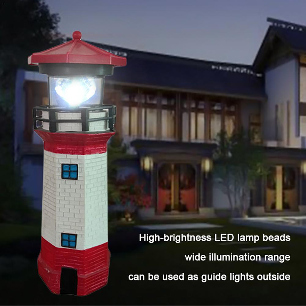 2V LED Solar Lighthouse Rotating White Light Solar Lamp Beacon Tower Guide Lamp Decoration Mini Water Tower Lighting Tool