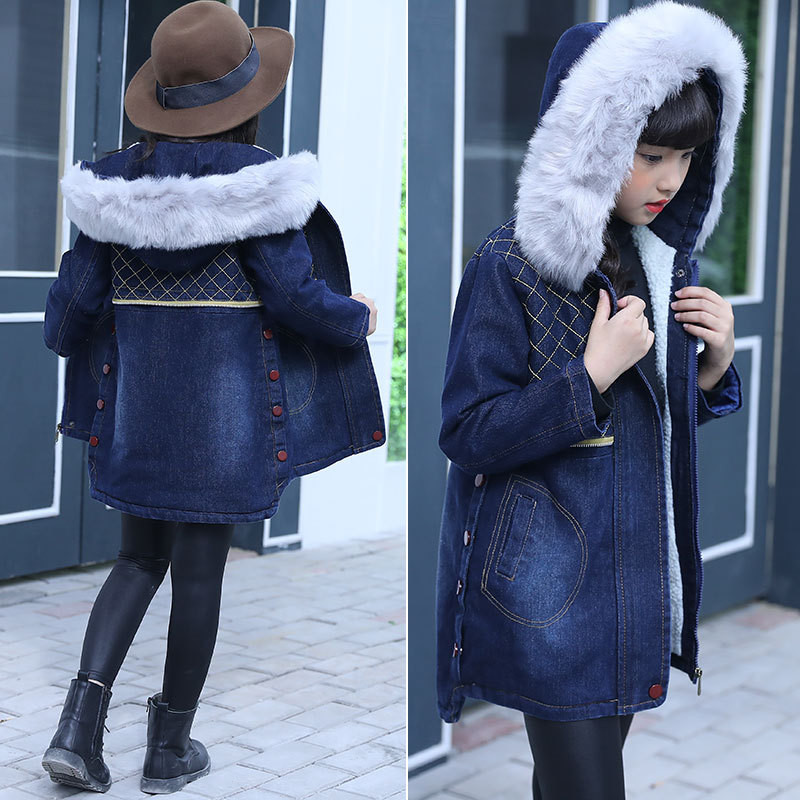 Fashion Girls Winter Coat Jeans Thicken Outerwear Baby Coats Denim Kids Clothes Casaco Warm Girl Jacket Children Clothing 2018 girls winter coat warm jacket fashion hooeded jeans outerwear children clothing kids cotton parka coats