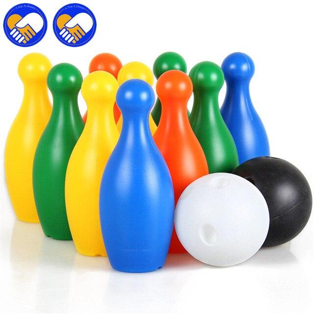 لعبة الحلم 19 سنتيمتر الطول الاطفال البلاستيكية البولينج مجموعة مصغرة  التفاعل الترفيه التعليمي كرات الألعاب الرياضية