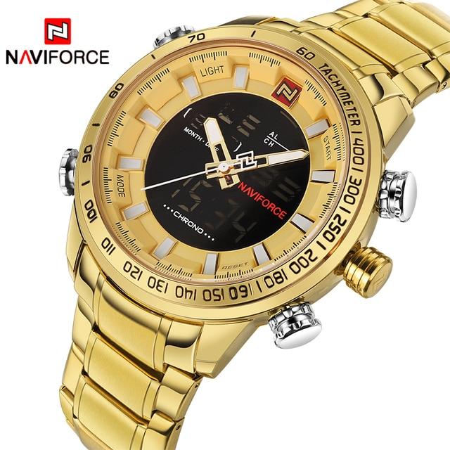 e42384af101 2108 Men s NAVIFORCE Luxury Brand Sport Watches Men Dual Display LED  Digital Waterproof Full Steel Quartz Watch Man Clock