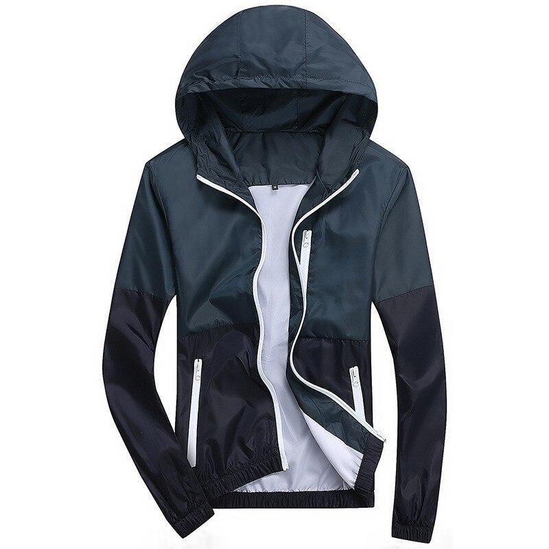 Men Windbreaker Jacket 2018 Autumn Spring Sportswear Casual Slim Hooded Coat Windbreaker Male Jacket Zipper Thin Coat Outwear
