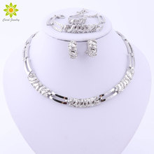 Elegant Fashion Silver Plated Jewelry Sets Austrian Crystal African Beads Necklace Earrings Ring Bracelet Set For Women