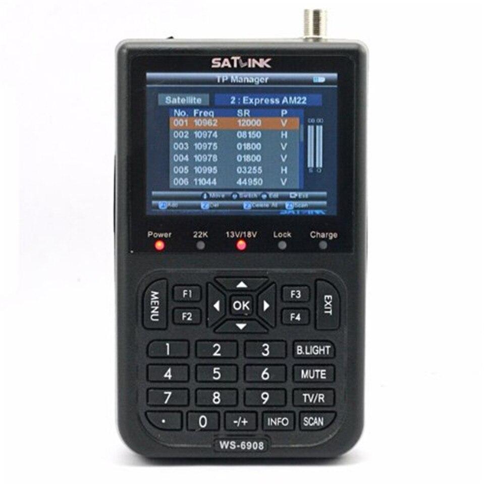 2017Hot Selling Original Satlink WS 6908 3 5 LCD DVB S FTA Digital Satellite Signal ws