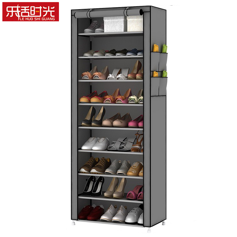 все цены на Single Row 10-Tier Simple Shoe Rack Removed Non-woven Dust-proof Shoes Storage Cabinet Hallway Shoe Organizer for Home Furniture