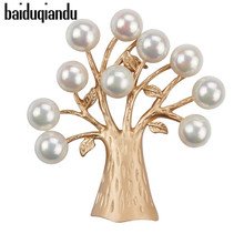 ab79945038d baiduqiandu Fantastic Tree Brooches with Lots of Faux Imitation Pearls  Fruits in matte gold and silver