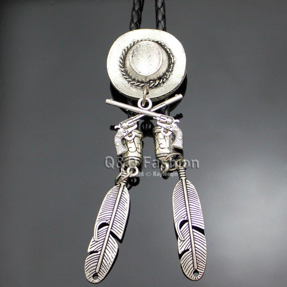Cowboy Silver Hat Stetson Corss Gun Pistol Rodeo Western Bolo Tie Line Dance Line Dance Good Quality Jewelry Unisex Free Ship