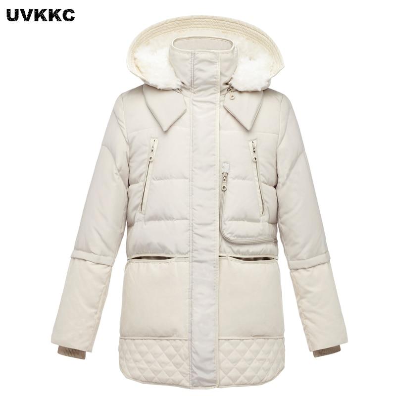 UVKKC 2017 Autumn And Winter Women Coat Cotton Cashmere Hooded Jacket Thick Warm Long Zipper Pocket Windproof Women Outwear Coat