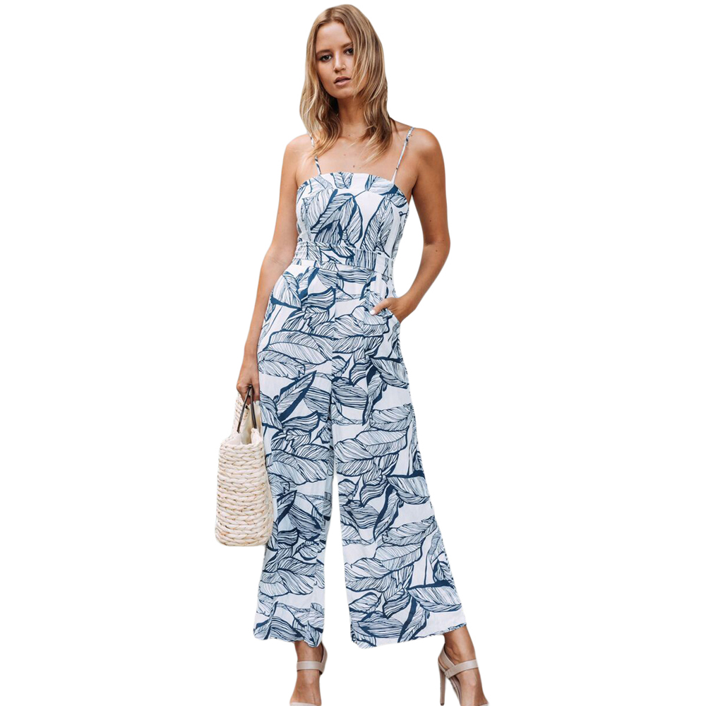 Wide Leg Jumpsuit Elegant Spaghetti Strap Sexy Summer Beach Sleeveless Navy Leaf Print White Romper Boho Jumpsuit Playsuits Long