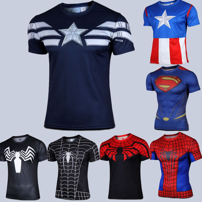 2015 Marvel Captain America 2 Super Hero lycra compression tights sport T shirt Men fitness clothing short sleeves M-XXL - Sell like hot cakes every day store