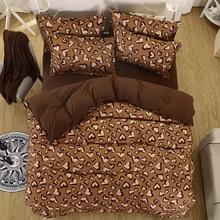 Primavera juego de cama super king size funda nórdica ropa de cama de leopardo 3/4 unids cama conjunto V patrón de hoja plana ropa de cama juego de cama Para Adultos 5 tamaño
